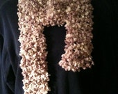 Scarf in beige and cream hand crocheted