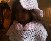 Pink Doll Poncho and Hat, 16 inch doll, American Girl doll fashions, Crochet, Pink