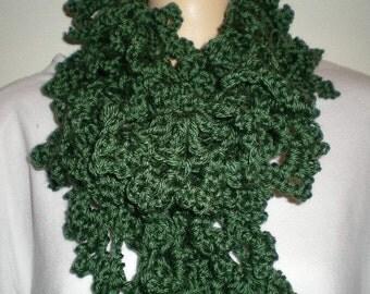 Scarf, scarves, crochet, women, girls. Green,  accessories