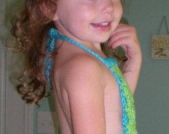 Children, girls, dresses, halter top dress, crochet, lime, teal, girls' clothing