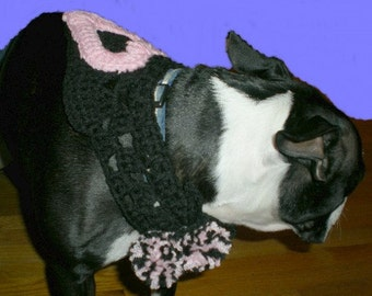 Dog Collar, Dog Neckwear, Pink, Black. Heart,  Dog or Cat Collar, Animal Lovers, Pets, Cats, Dogs,Crochet