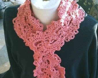 Scarves,Queen Anne Lace Scarf, Scarf, Neckwear, Womens Fashions, Girls Fashions, Accessories,  Coral, Crochet, Queen Anne Lace