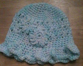Teal, blue white ruffly brim bucket hat
