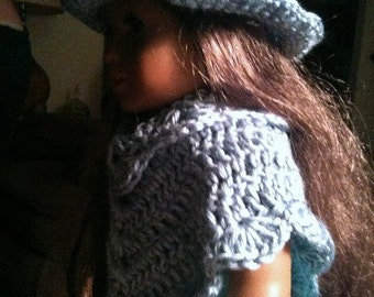 Poncho, Hat, Poncho and Hat Set, Dolls, Doll Clothing, 16 inch doll, crochet, blue