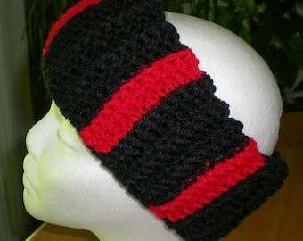 Earwarmer, Headband, Red, Black, Men, Women, Accessories, Mens accessories, Womens accessories, Crochet