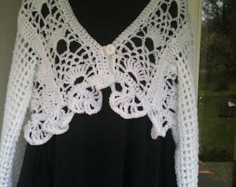 Shrugs, Boleros, Sweaters, XS, S, M, L, Women's fashions, Girls fashions, Clothing, Crochet,White, Pineapple Design,Wrap