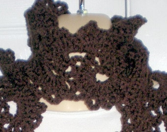 Scarf,Queen Anne Lace Scarf,Scarves, Womens accessories, Girls accessories, Brown, Crochet, Womens Fashions, Girls fashions, Crochet scarves