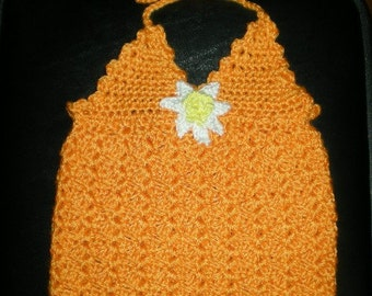Halter top, girls, toddlers, tank tops, crochet, orange, girls fashions, toddler fashions, tops, size 2