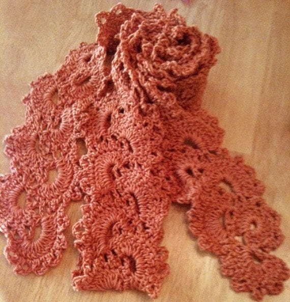 Queen Anne Lace Scarf Lightweight Fingertip Persimmon
