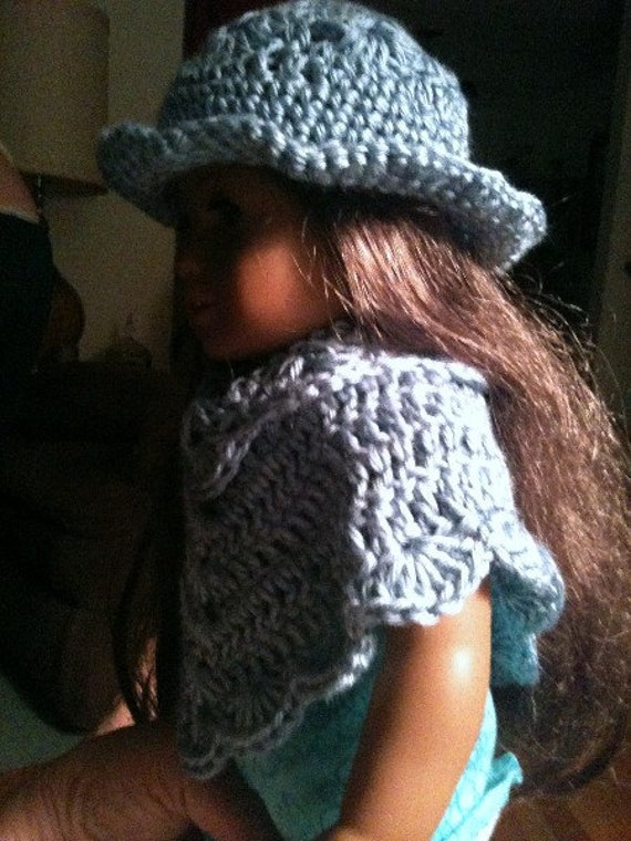 Poncho, Hat, Poncho and Hat Set, Dolls, Doll Clothing, 16 inch doll, crochet, blue