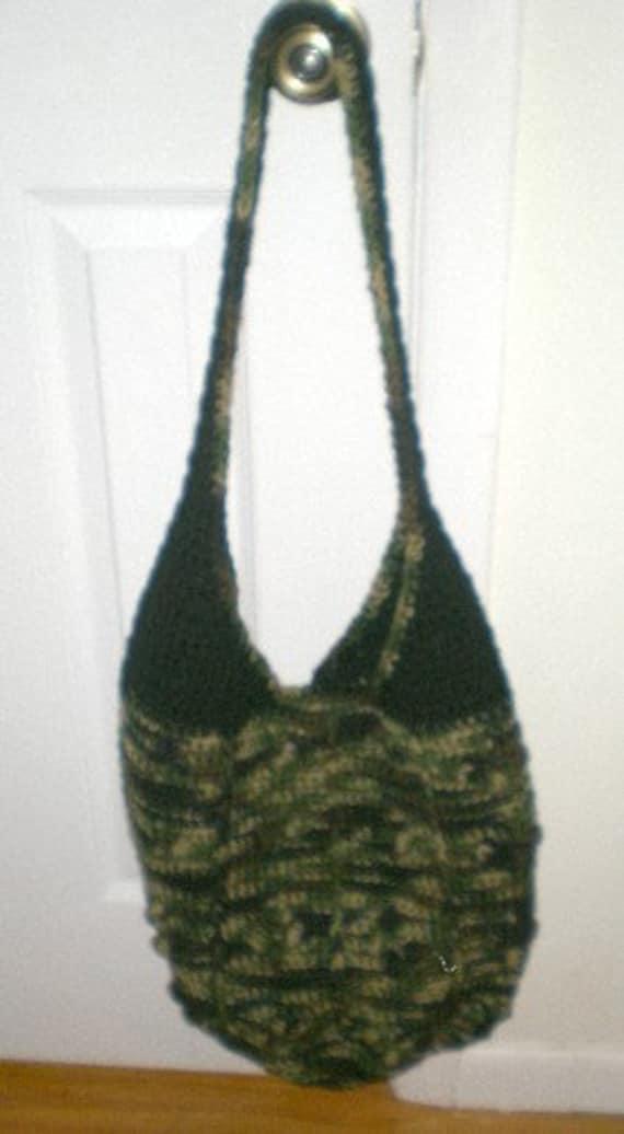 Tote, Bag, Carryall, Handbag, Book Bag, crochet, camoflage, shopping bag, reusable