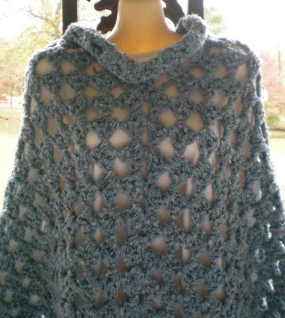 Poncho, Double Thick, Dusty Blue, Crochet Poncho