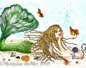 Blonde Mermaid Reclining Matted Giclee Print Fantasy Art