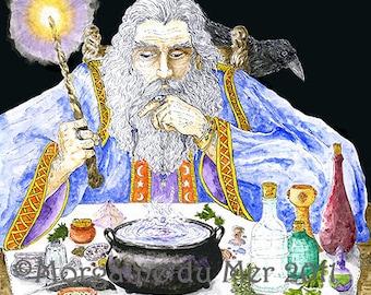 Wizard Merlin and Raven Magician Sorcerer Fantasy Art Print Arthurian Pagan Mythology Pen and Ink Watercolour Illustration