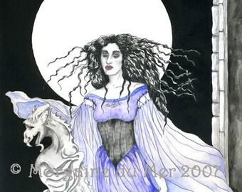 Lady and Gargoyle MadWoman Dark Fantasy Art Print Gothic Full Moon Madness Nightmare Pen and Ink Watercolour Illustration