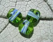 SALE Reduced by 33% Lime Twist  Lampwork Beads by Cherie Sra R114 Flamedworked Glass Beads