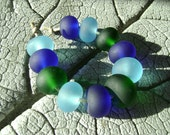 ETCHED RECYCLED Glass Lampwork Beads by Cherie Sra R114