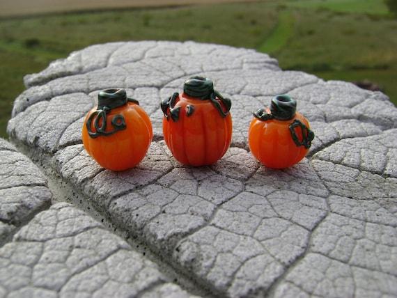 Lampwork Beads by Cherie Sra R114 PUMPKIN TRIO