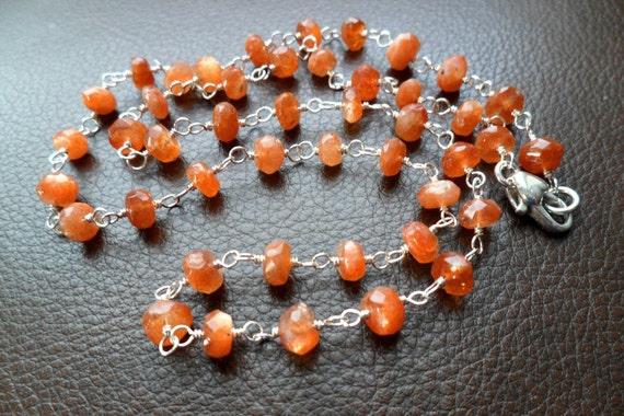 Sunstone Necklace, Sterling Silver