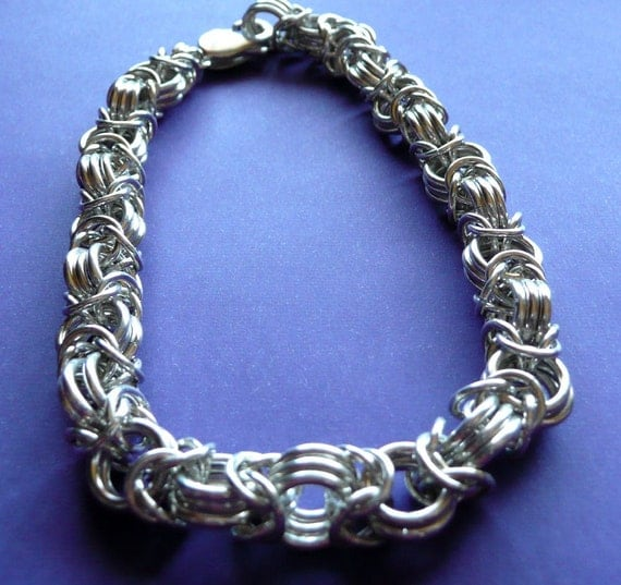 Sterling Silver Heavy Byzantine Weave Chainmaille Bracelet
