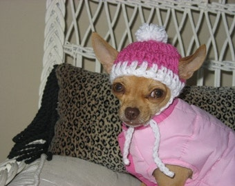 Crocheted Chihuahua Pink with White Trim Beanie XXS
