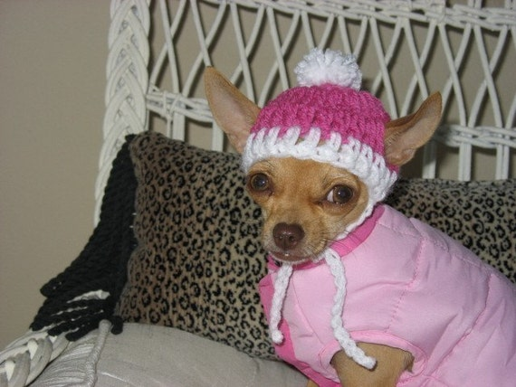 Crocheted Chihuahua Pink with White Trim Beanie XXS