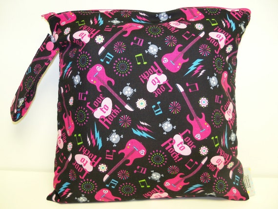 SALE - Small Wet Bag - Wet Bag - 11 X 11 - Love To Rock