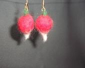 Ravishing  Radish Felted Earrings