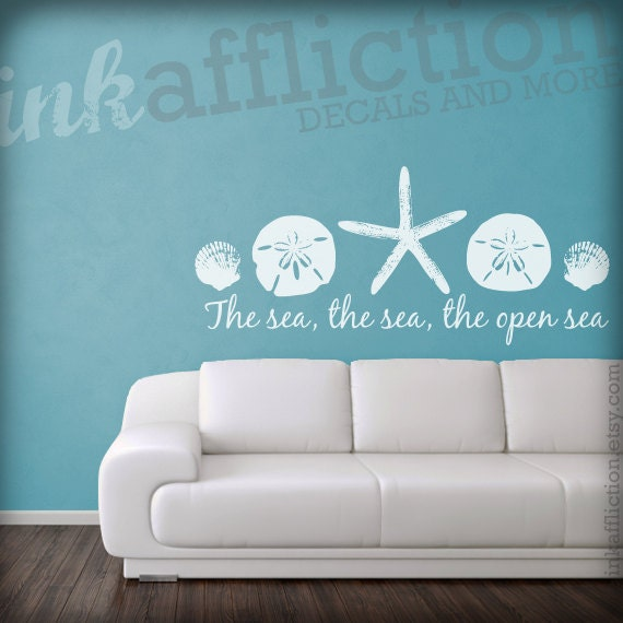 Items similar to the sea quote wall decal small 25x11 on for Beach wall decals