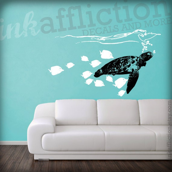 items similar to sea turtle wall decal large 40x22 on etsy. Black Bedroom Furniture Sets. Home Design Ideas