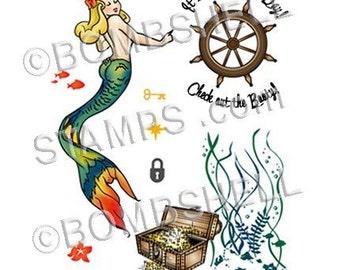 Mermaid Treasure Rubber Stamp Set