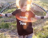 Young Punk - Onesie, Lap Tee, Toddler T Shirt or Youth Tee- your choice of size/style - cool funny hip baby toddler American Apparel (black)