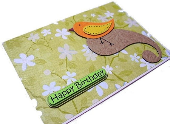 Cute Little Bird Birthday Card - by UniqueGrabs