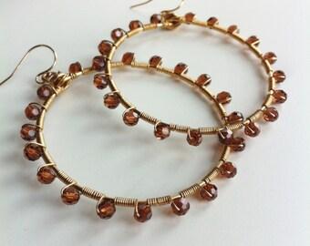 Sunburst Brown Swarovski crystal wrapped hoops