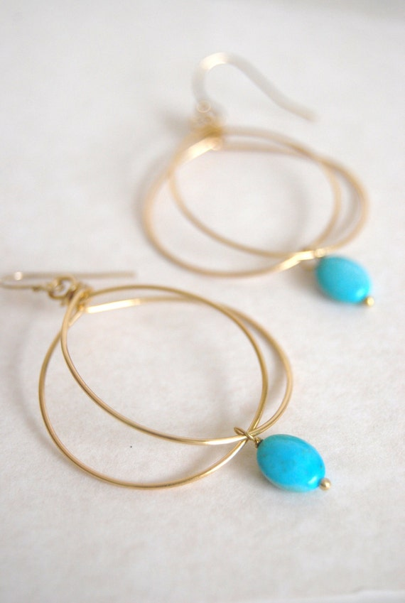 Mini Chic and Unique Hoops with Turquoise