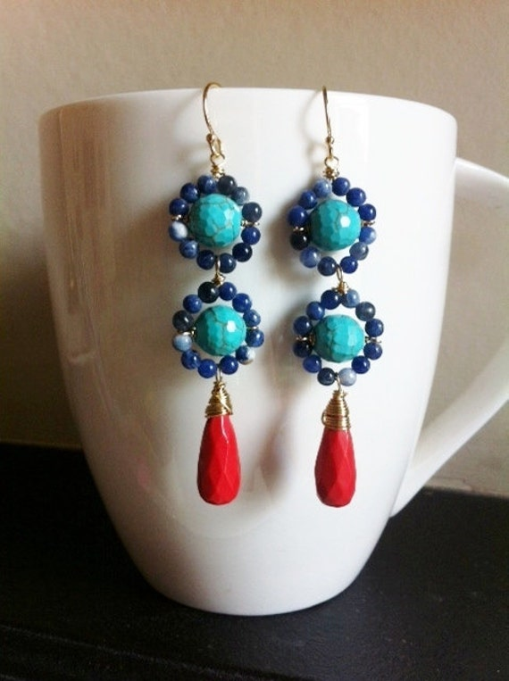 CLEOPATRA Drop - sodalite, turquoise, sienna red glass drop