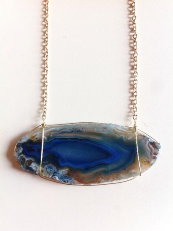 Cobalt blue banded agate slice necklace