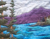 quilted landscape scene lakeside wall hanging
