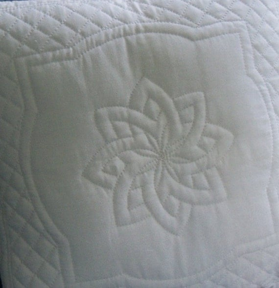 hand quilted whole cloth pillow covers