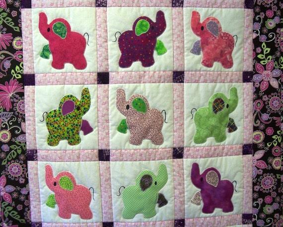 Elephant Treasures handmade quilt girly girl
