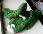Handknit Dinosaur MIttens--Adult Large