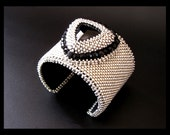 RESERVED for JLH - Glam Rock - Silver and Black Peyote beaded Bead Embroidered Cuff