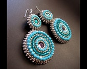 Around & Around - Bead Embroidered, Silver, Turquoise, Teal and Purple Beaded Earrings