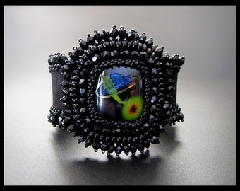 Fly Me to the Moon -  OOAK Black Bead Embroidered Cuff