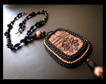 Reflection - OOAK Black and Copper Bead Embroidered and Bead Woven Necklace
