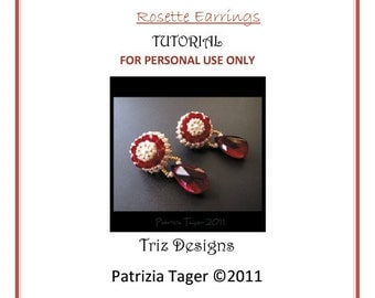 PDF Beading Tutorial - Beadwork Bead embroidery - Beaded Rosette Earrings - Instructions ONLY