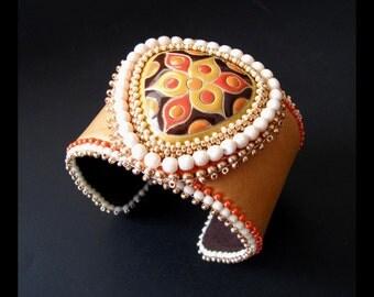 SALE 25% OFF - Trillium - Orange, Cream & Brown  Bead Embroidered Leather Beaded Cuff