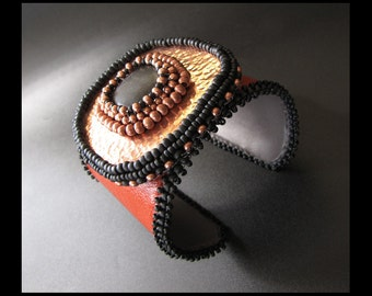Fiery Warrior - OOAK Copper and Black Beaded Burnt Orange Leather Statement Cuff