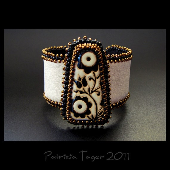 Black & Bronze Flowers - Ivory Bead Embroidered Leather Beaded Cuff