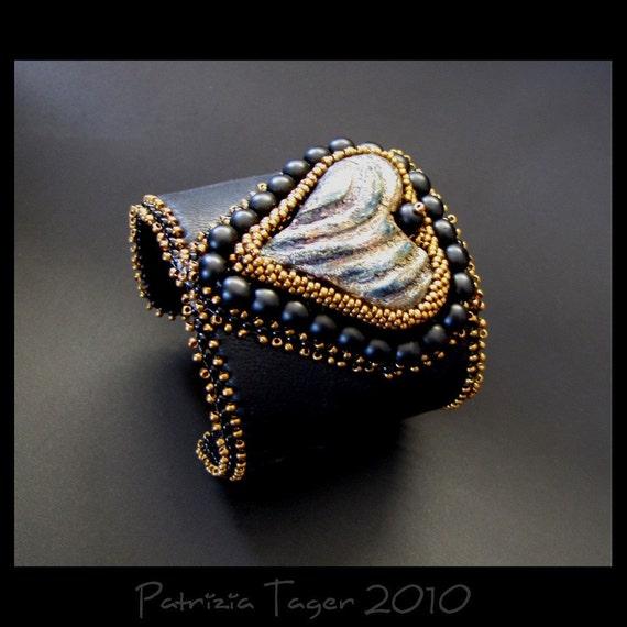 Rock My World - Black and Bronze Bead Embroidered Raku Heart Leather Beaded Cuff OOAK - SALE 25% OFF